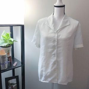 Talbots Sheer White Short Sleeve Button Up Blouse